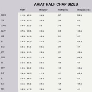 arait half chap sizes
